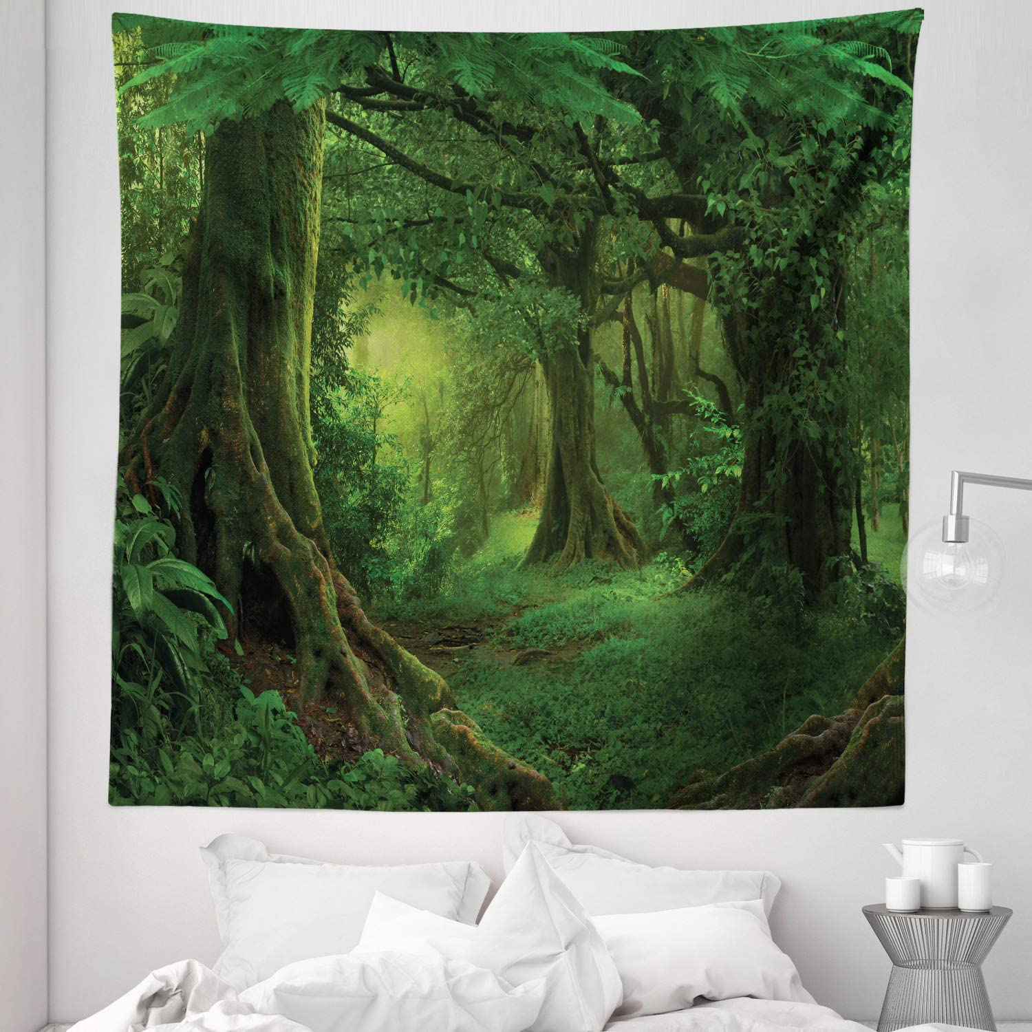 """Lunarable Forest Tapestry Queen Size, Enchanted Woodland Foliage in Deep Tropical Jungle at Southeast Landscape Print, Wall Hanging Bedspread Bed Cover Wall Decor, 88"""" X 88"""", Green"""