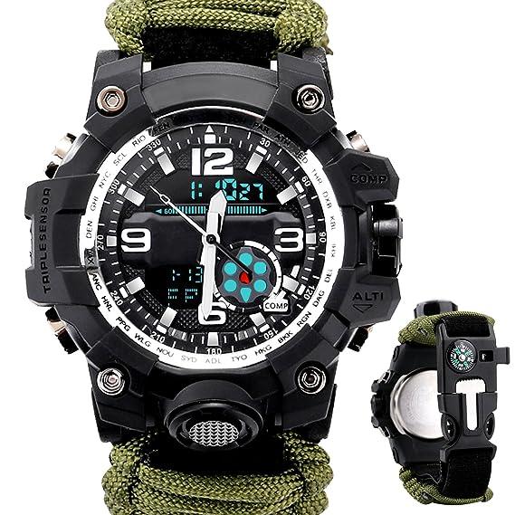 ETOWS Reloj deportivo militar de supervivencia para hombre con paracord/silbato/iniciador de fuego/brújula/brújula y termómetro 6 en 1: Amazon.es: Relojes