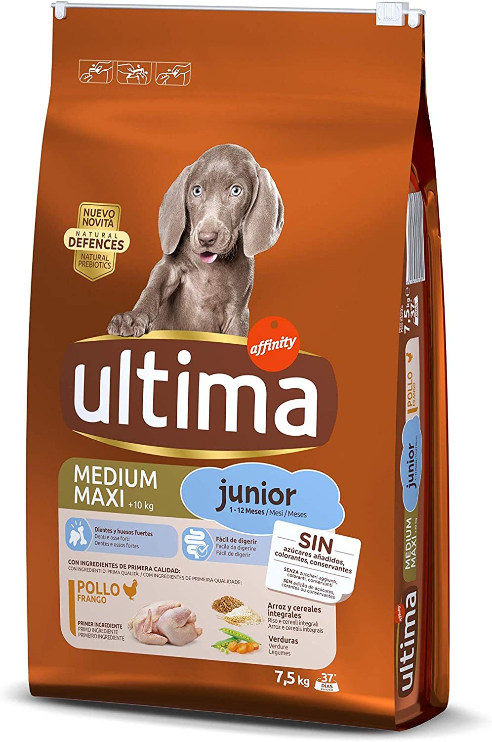Ultima Pienso para Perros Medium Maxi Junior con Pollo - 7.5 kg
