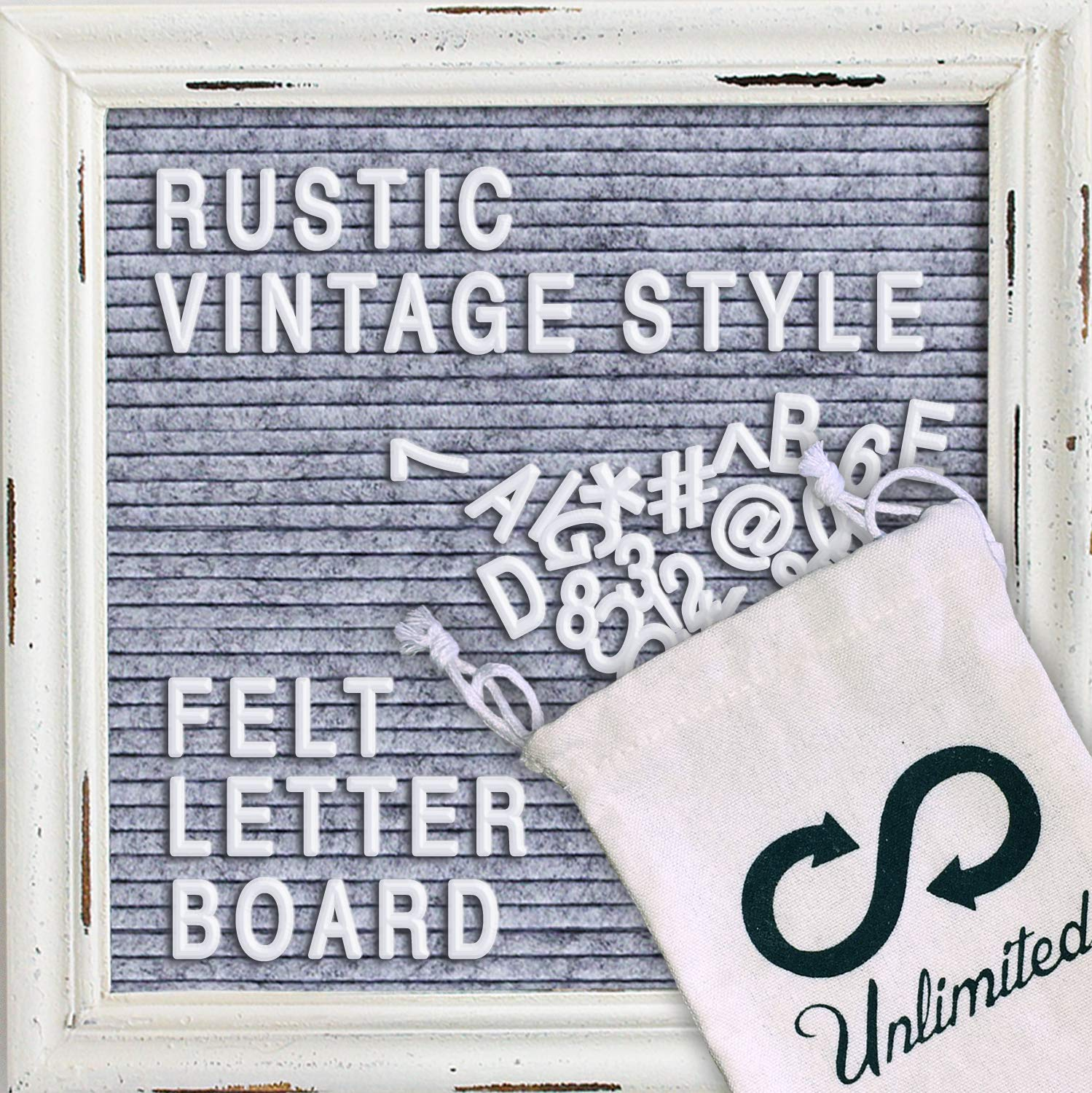 Improved Rustic Letter Board Felt Letter Board 10 x 10 inch with White Vintage Wood Frame, Free Scissor Changeable 320 Characters, Emojis, Letters, Numbers and Stand(Grey)