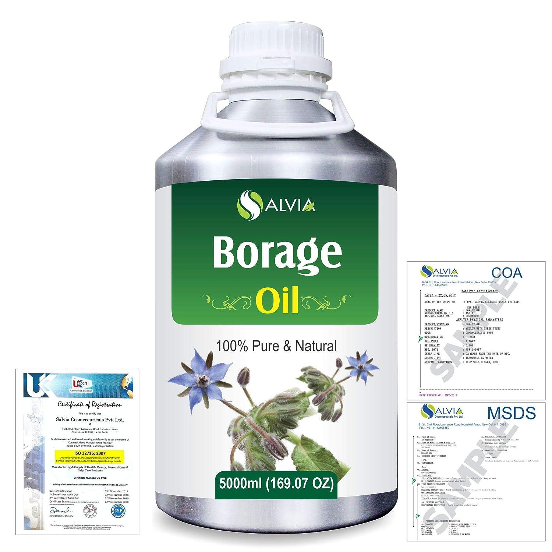 Borage (Borago officinalis) Natural Pure Undiluted Uncut Carrier Oil 5000ml/169 fl.oz. B07R4WZL8R