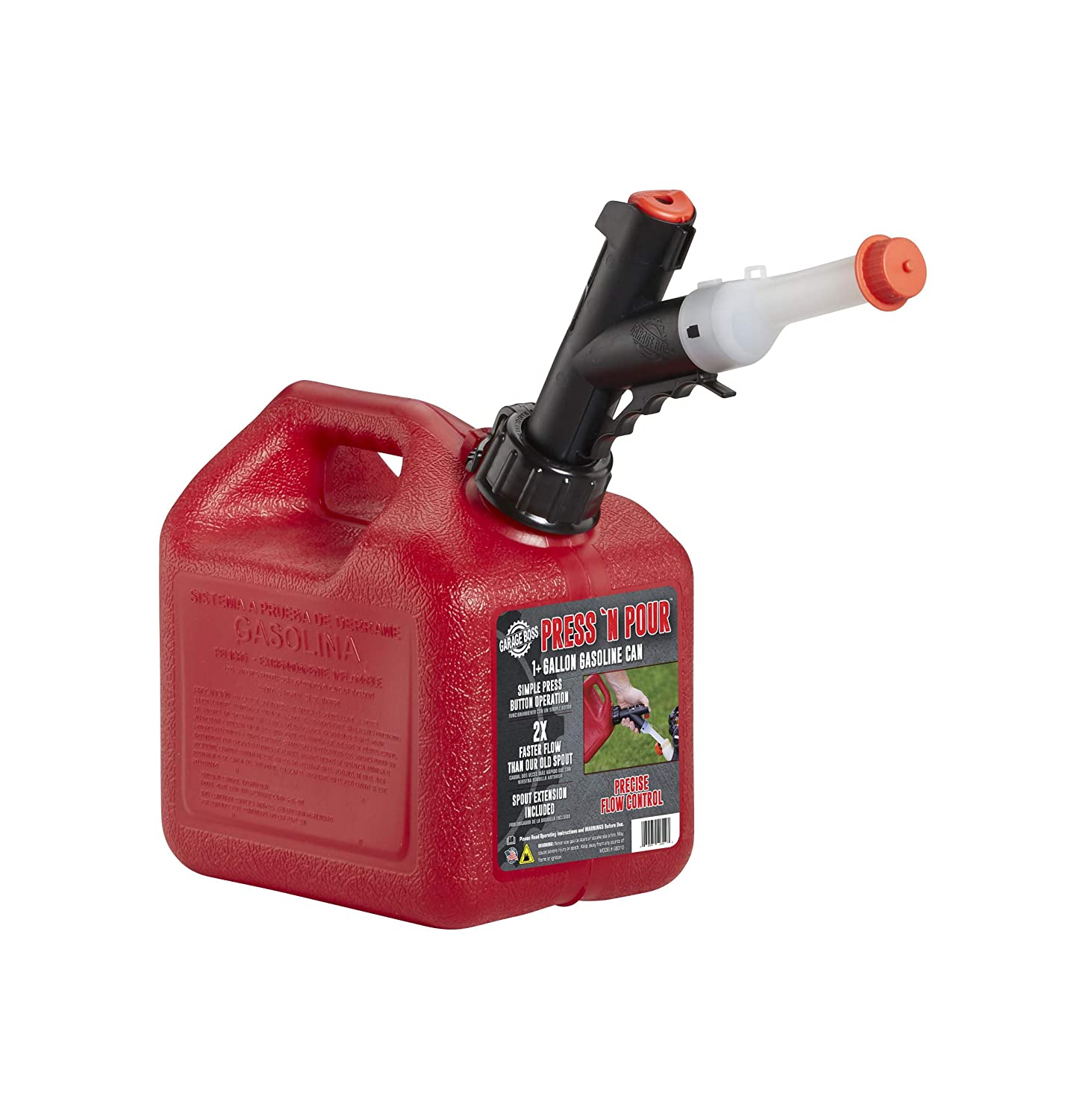 GARAGE BOSS GB310 Briggs and Stratton Press 'N Pour Gas Can, 1+ Gallon, Red