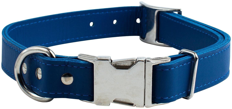 OmniPet 6109-BL Kwik-Klip Signature Leather Adjustable Dog Collar, bluee, 12-16