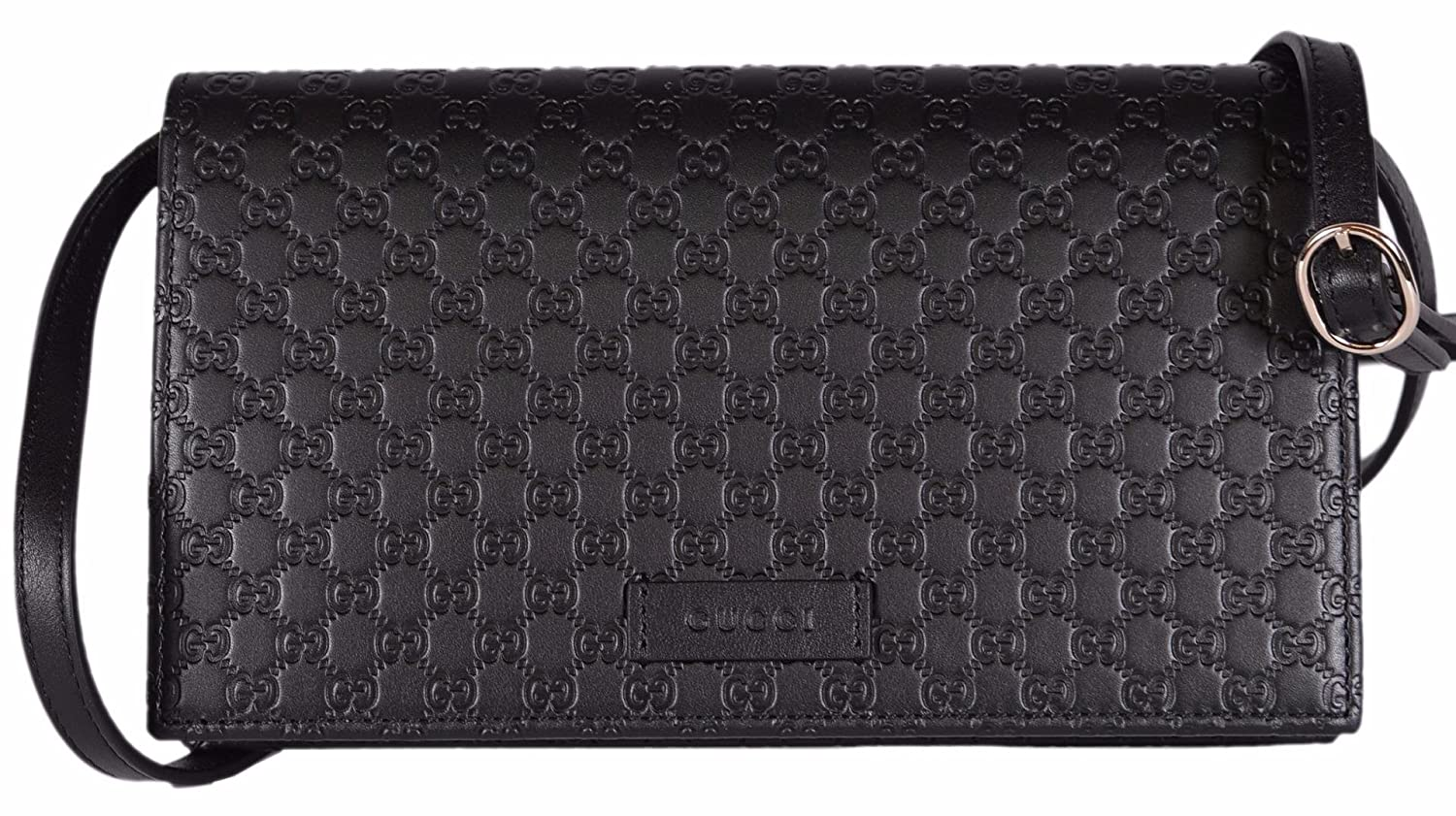 710011f540a Amazon.com  Gucci Women s Leather Micro GG Guccissima Mini Crossbody Wallet Bag  Purse (Black)  Shoes