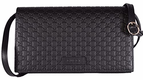 638e5e32bb77 Image Unavailable. Image not available for. Colour: Gucci Women's Leather  Micro GG Guccissima Mini Crossbody Wallet Bag Purse (Black)
