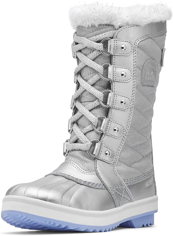 Pure Silver//White Sorel Disney Frozen 2 Kids Tofino Winter Snow Boot
