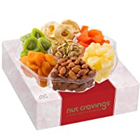 Gourmet Gift Basket, Nut & Dried Fruit Tray (7 Mix) - Variety Care Package, Birthday Party Food, Holiday Arrangement Platter - Healthy Snack Box for Families, Women, Men, Adults