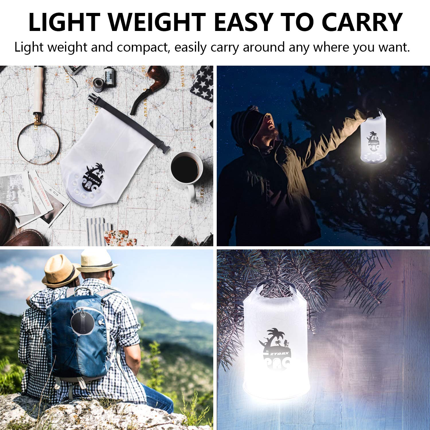 Hiking 4 Lighting Model LED Outdoor Lights for Camping Kayak Hurricane Emergency AIDIER Solar Camping Lantern Camping Light Waterproof IP66 With Dry Bag Function Roll Top Snap Lock Handle Outage
