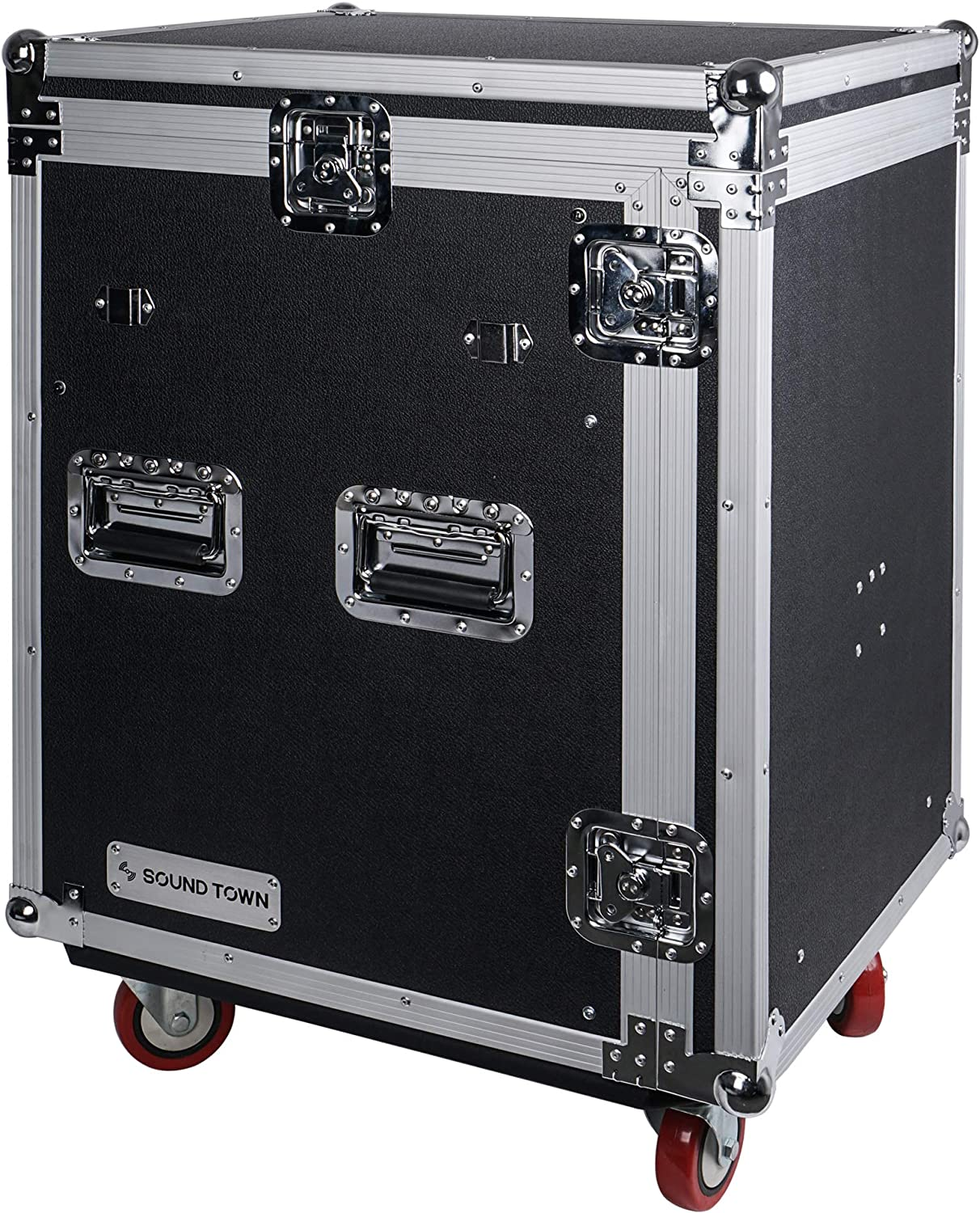 2 DJ Work Tables and Casters STMR-14UWT2 Sound Town 14U PA DJ Rack//Road ATA Case with 11U Slant Mixer Top 14-Space Size 20/'/' Rackable Depth