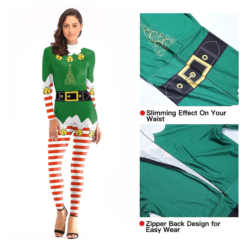 bdba5d82d9b EraSpooky Women' s Christmas Print Jumpsuits Skinny Stretch ...
