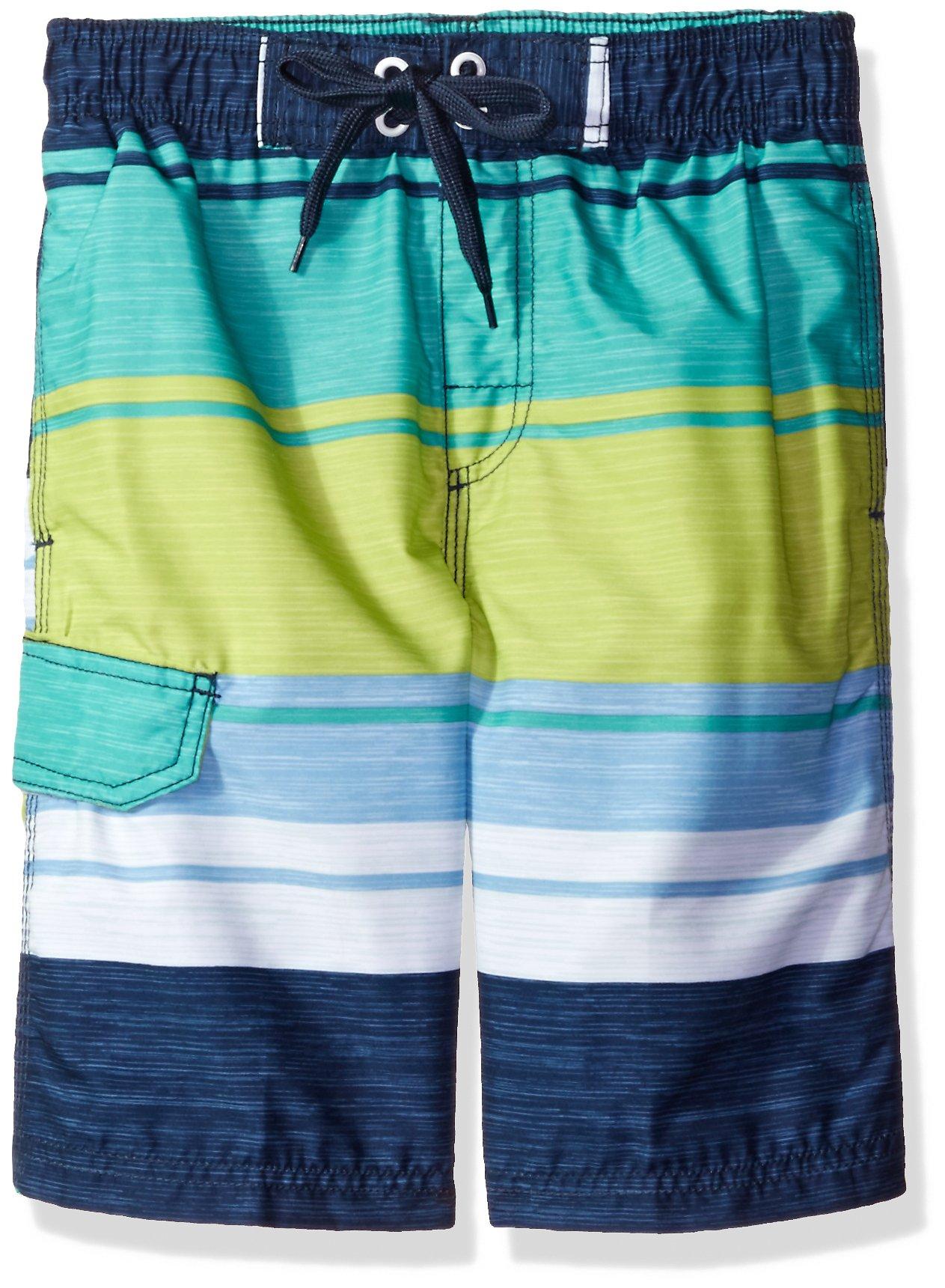 Kanu Surf Big Boys' Impact Stripe Swim Trunk, Navy/Green, Medium (10/12)