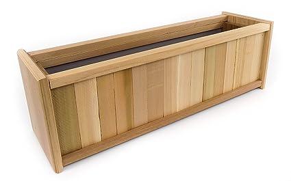 Amazon Com Miller Outdoor Patio Wood Cedar Planter Box 24 Inch