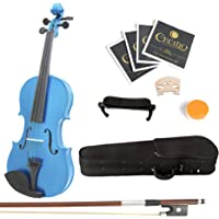 Mendini 1/4 MV-Blue Solid Wood Violin with Hard Case, Shoulder Rest, Bow, Rosin and Extra Strings