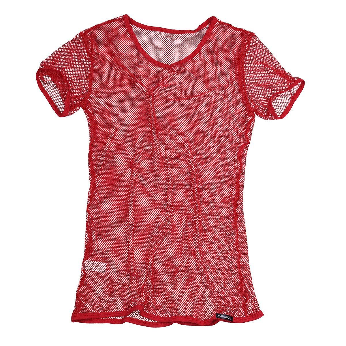 YiZYiF Men's See Through Fishnet Clubwear Short Sleeve T-Shirt Undershirt