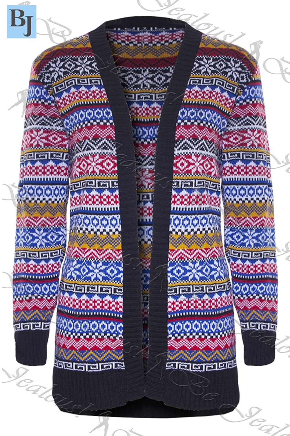 9ce7d075eb Womens Ladies Christmas Aztec Open Front Knitted Sweater Boyfriend Cardigan  Top  Amazon.co.uk  Clothing