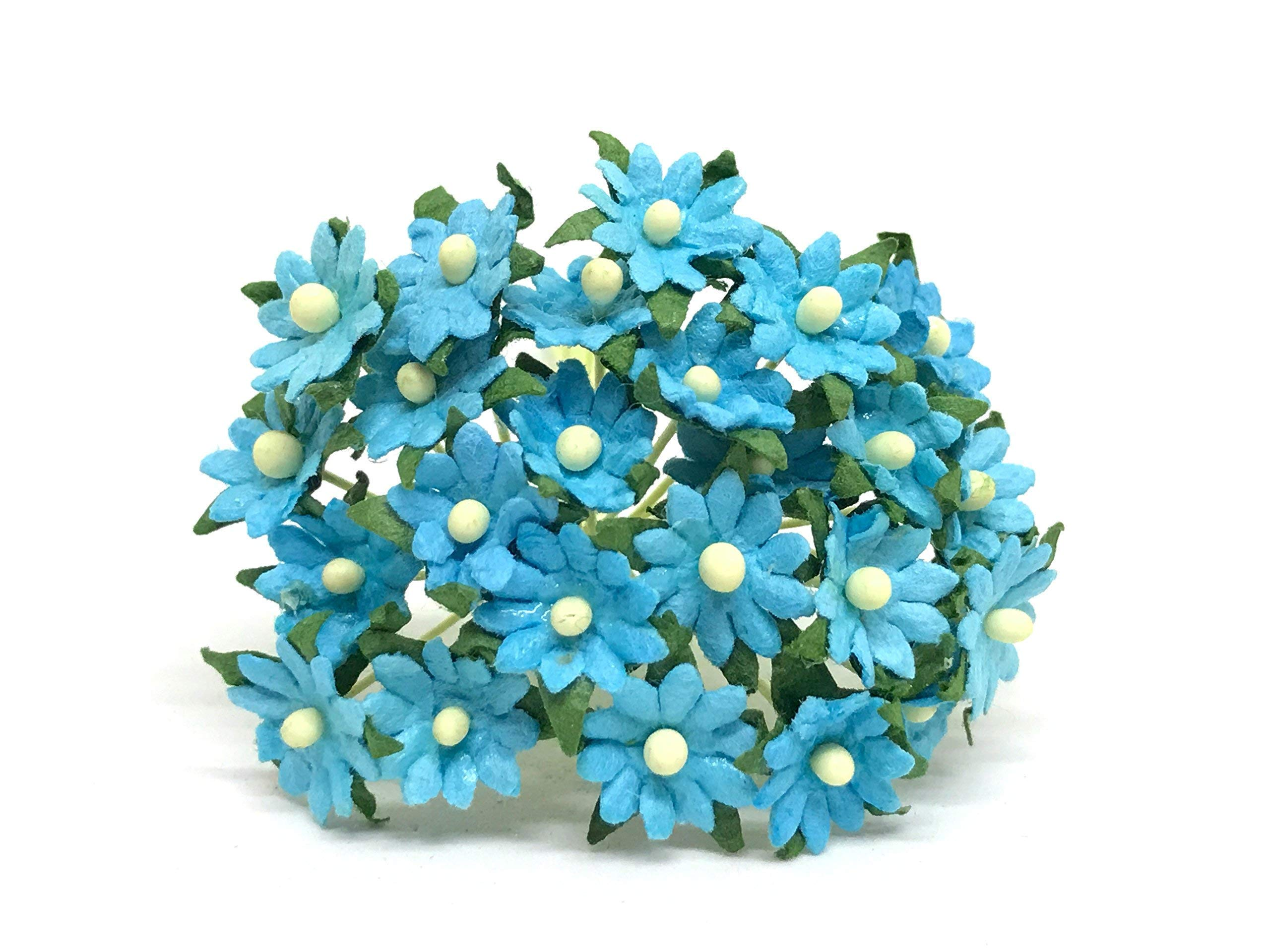 1cm-Turquoise-Paper-Daisies-Mulberry-Paper-Flowers-Miniature-Flowers-For-Crafts-Mulberry-Paper-Daisy-Paper-Flower-Artificial-Flowers-50-Pieces