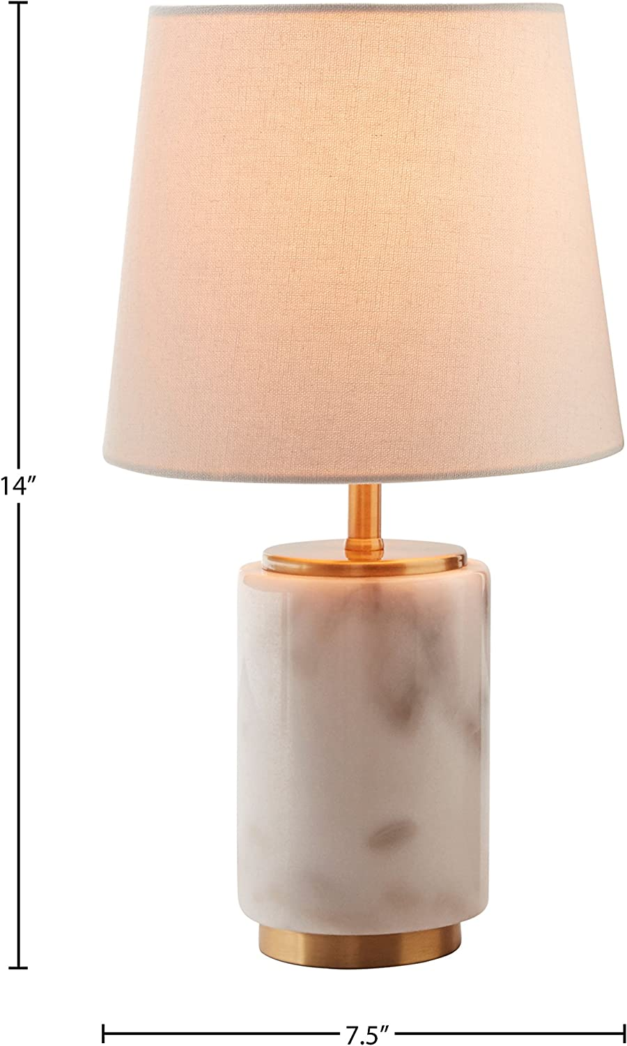 JONATHAN Y JYL5022A Adams 23 in LED White//Brass Marble Table Lamp