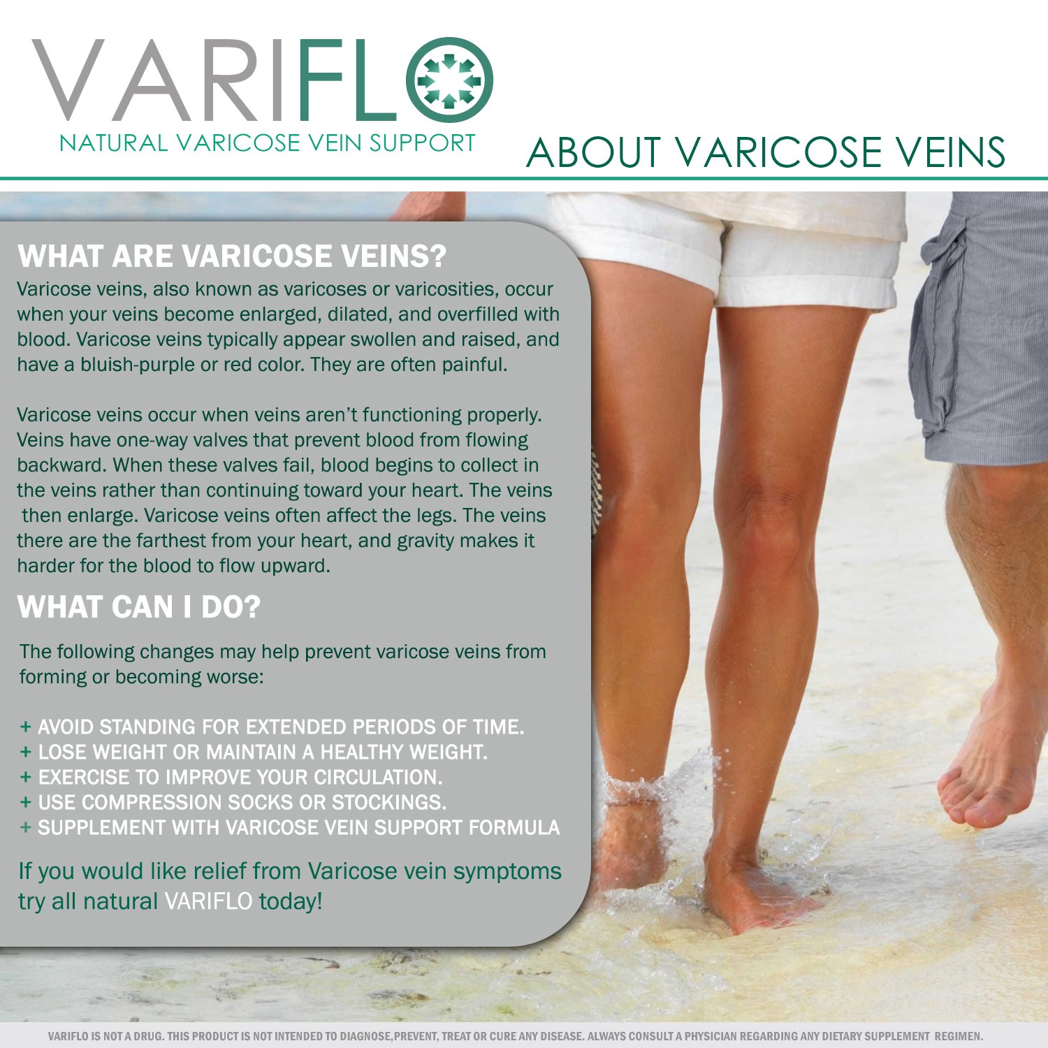 1f89cf94685 Amazon.com : VariFlo Varicose / Spider Veins Support Supplement in Pills to  Improve Poor Vein Circulation in Legs : Beauty