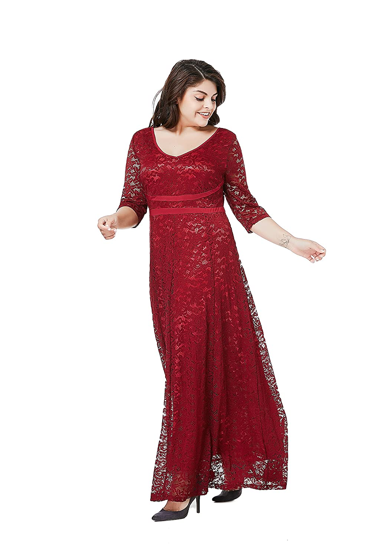 2cb8f163e1 ESPRLIA Women s Plus Size Double V Neck 3 4 Sleeve Dress High Waist Maxi  Wedding Dress at Amazon Women s Clothing store
