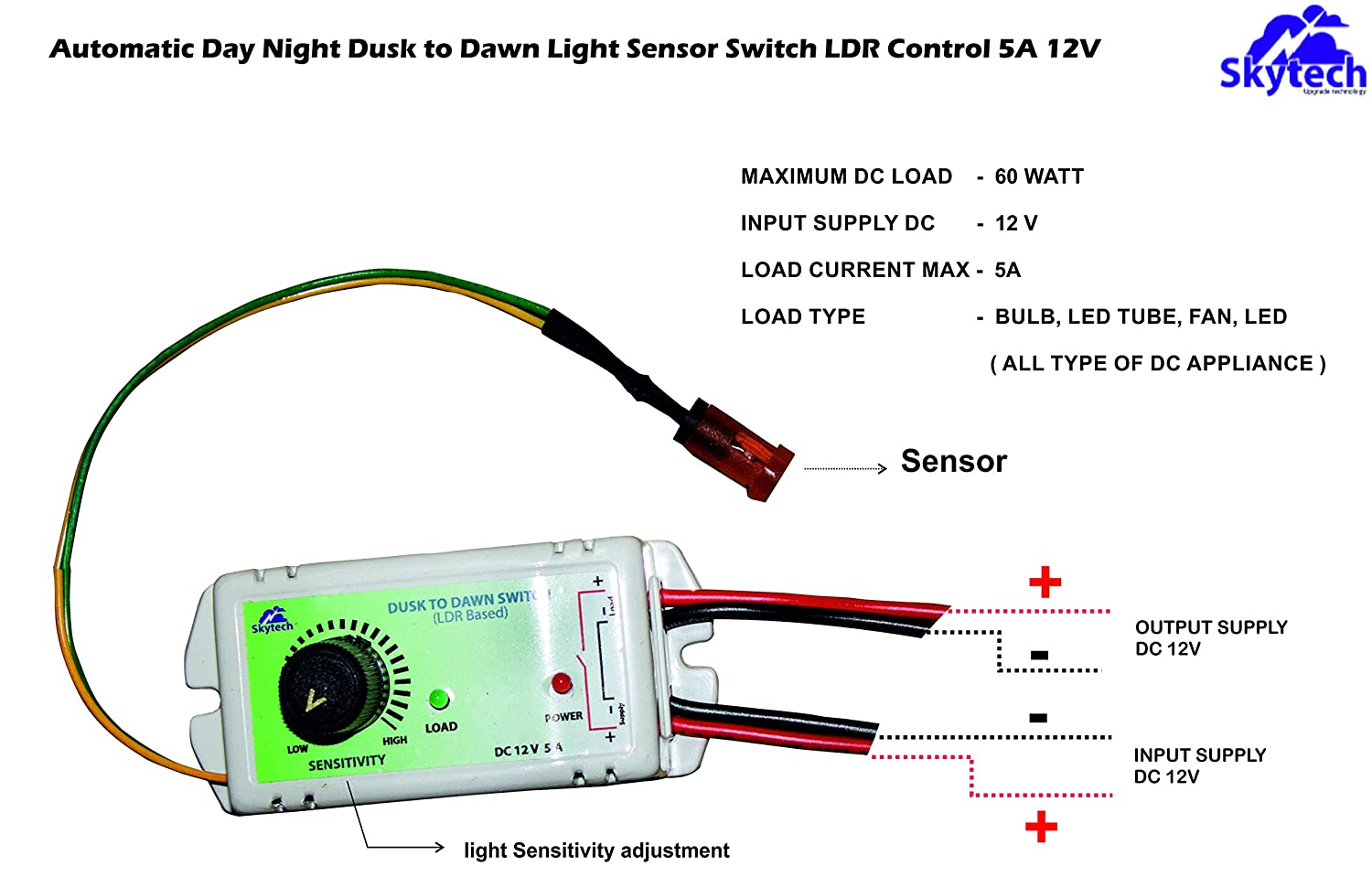 Skytech Automatic Day Night Dusk To Dawn Light Sensor Switch Ldr Wiring Diagram For Control 5a 12v Dc Garden Outdoors