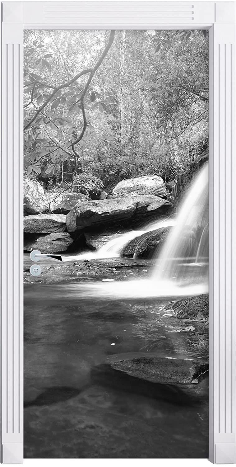 beautiful waterfall in deep forest Art B & W as Mural, Format: 200x90cm, door frame, door stickers, door decoration, door stickers Stil.Zeit