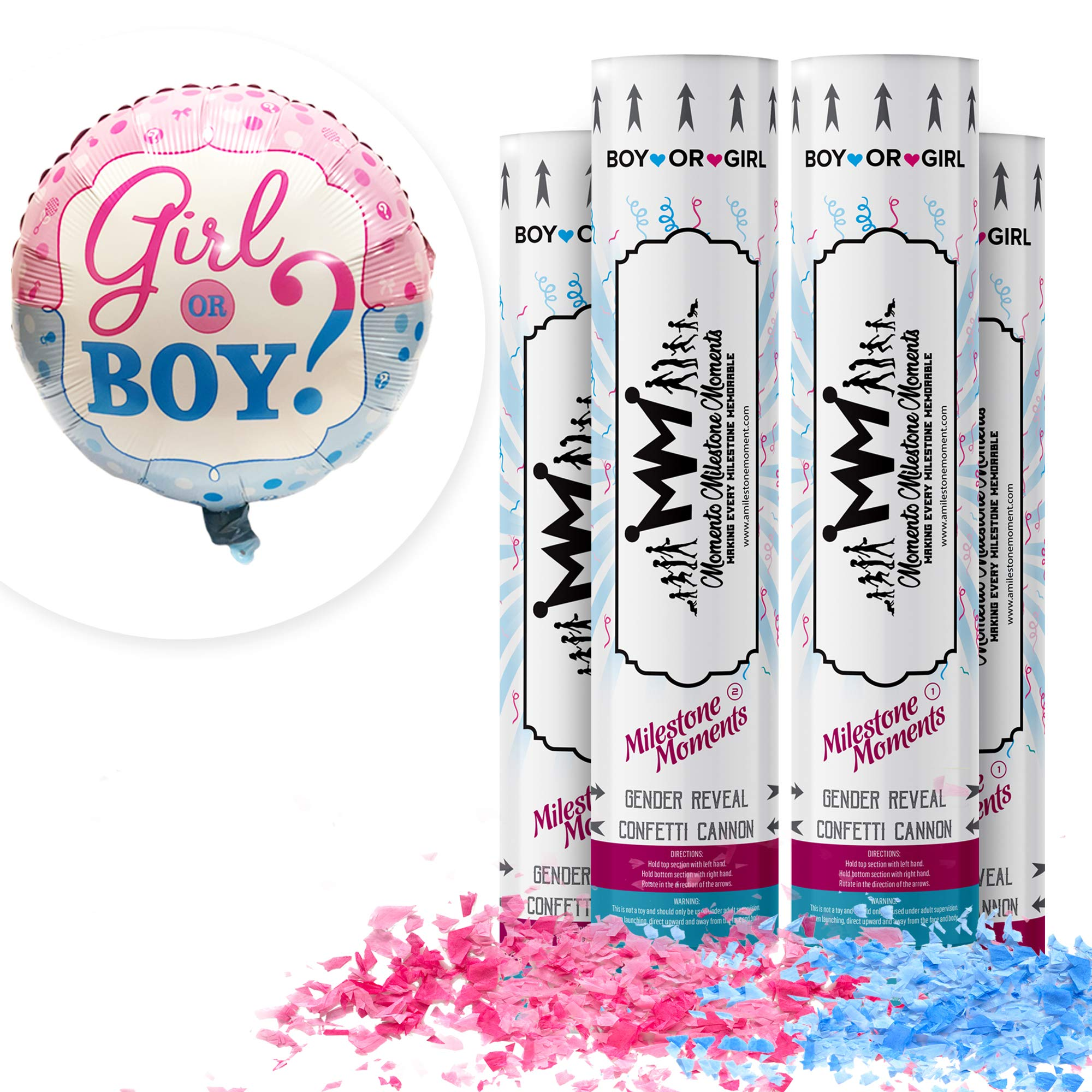 Gender Reveal Confetti Cannon Bundle- Baby Reveal Party Supplies with 18 inch Gender Reveal Boy or Girl Balloon (4 Pack, Blue & Pink) by MOMENTO MILESTONE MOMENTS