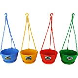 Easy Gardening 8 Inch Hanging Pots/Planters Red, Green, Yellow, Blue Color For Home Balcony