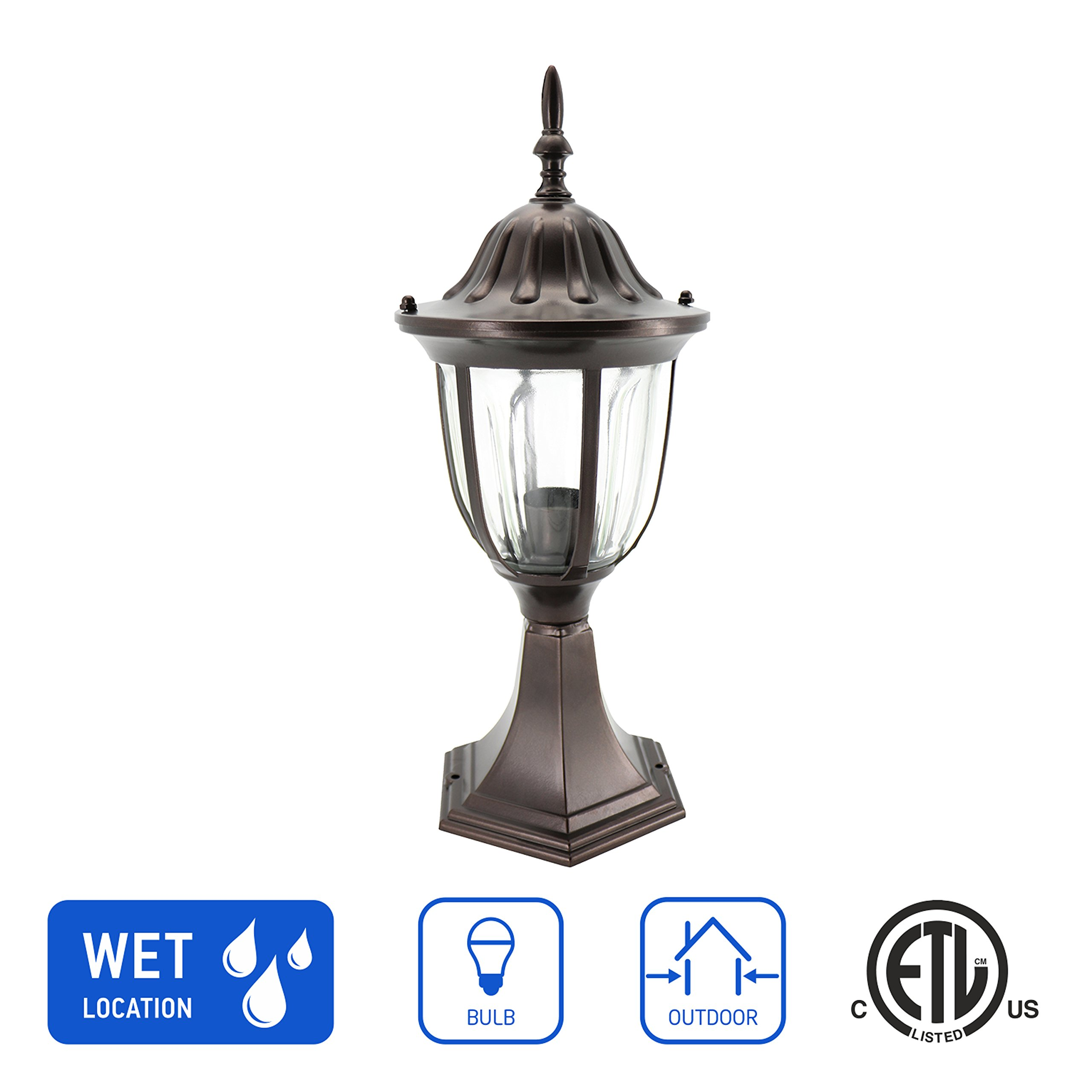 IN HOME 1-Light Outdoor Garden Post Lantern L03 Lighting Fixture, Traditional Post Lamp Patio with One E26 Base, Water-Proof, Bronze Cast Aluminum Housing, Clear Glass Panels, ETL Listed by IN HOME (Image #1)