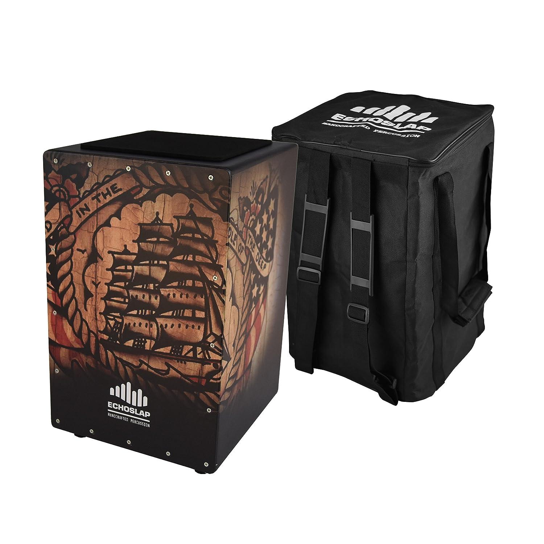 Echoslap GFX Ship Cajon, Black, Hand Crafted, Adjustable Snare, Deep Bass, Maple Frontplate CNZ Audio GFX6-SHIP