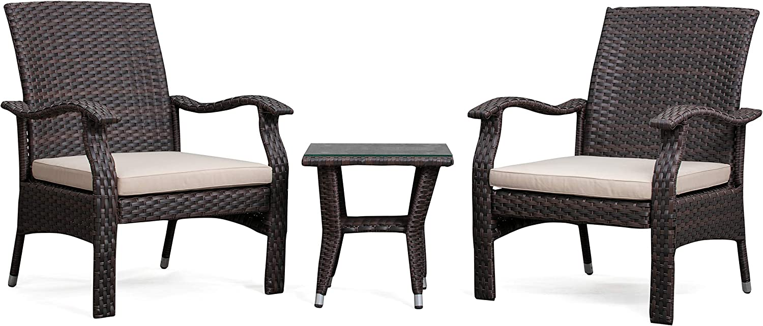 Patio Sense Miles Wicker Conversation Set, Dark Brown, 3 Piece Outdoor Bistro Set with 2 Chairs and Coffee End Table with Glass Top