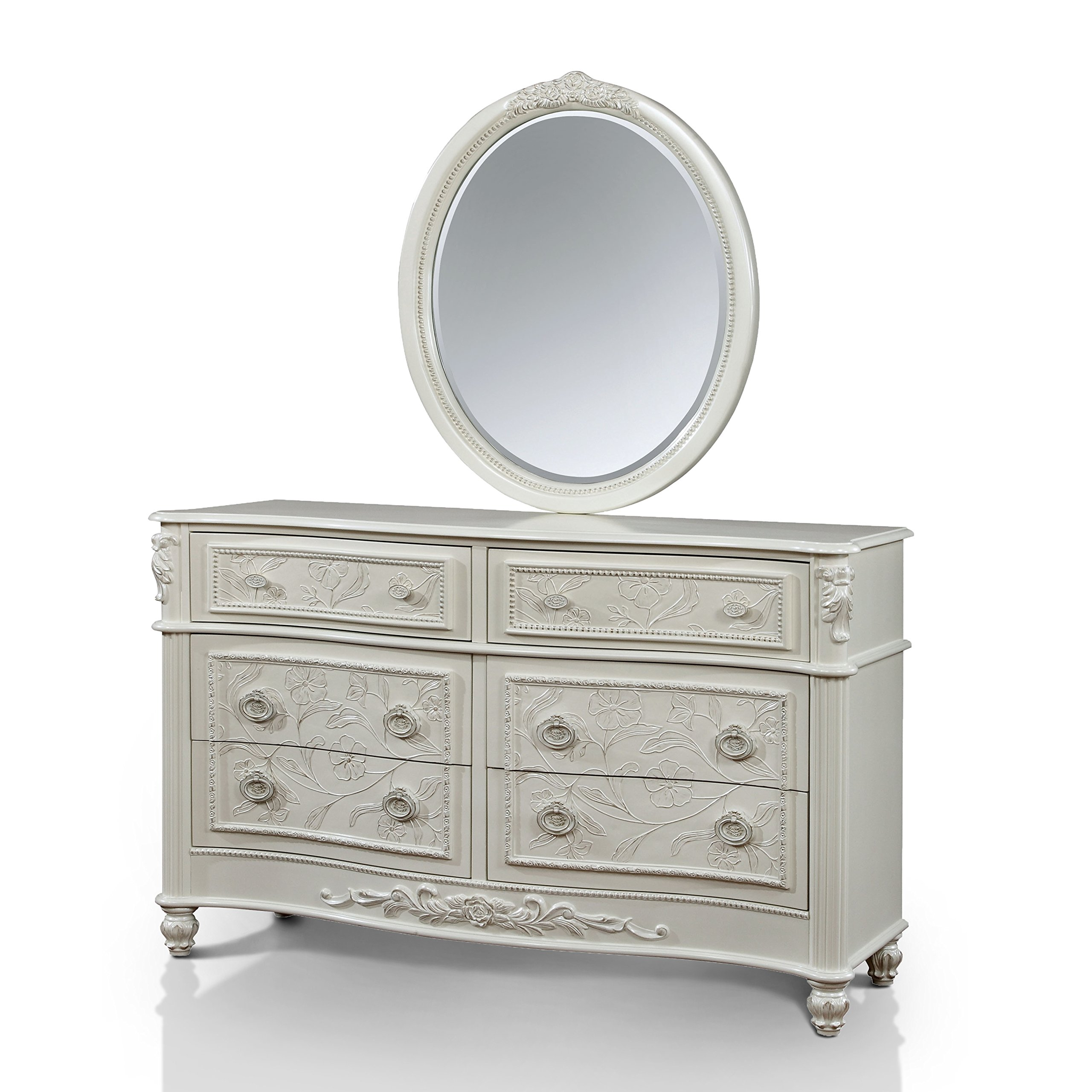 Furniture of America Margie Traditional 2-piece Elegant Fairy Tale Style White Dresser and Mirror Set by Furniture of America