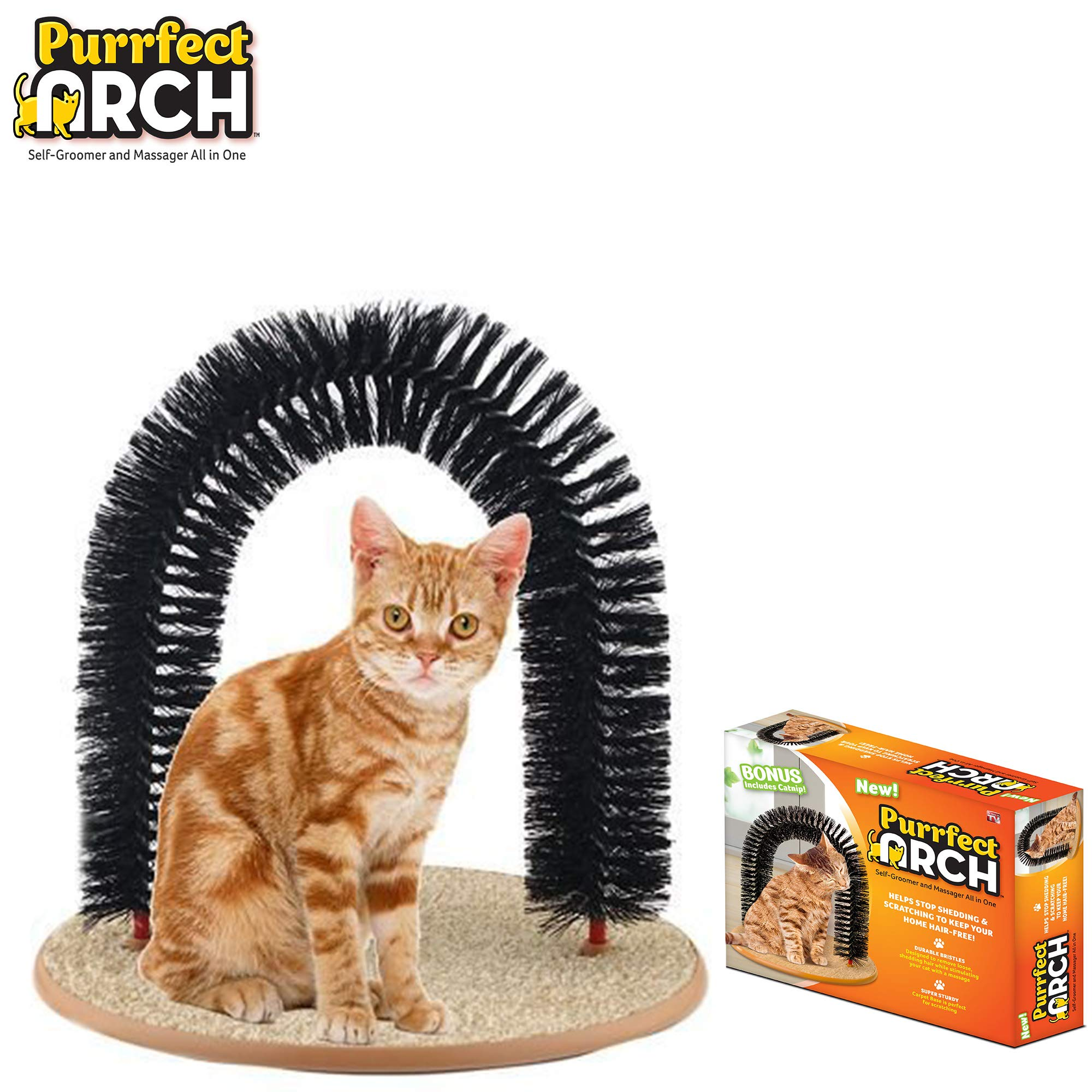 Purrfect Arch Self Grooming and Massaging Cat Toy- Reduce Shedding & Scratching  To Keep Your Home Fur Free! by Purrfect Arch