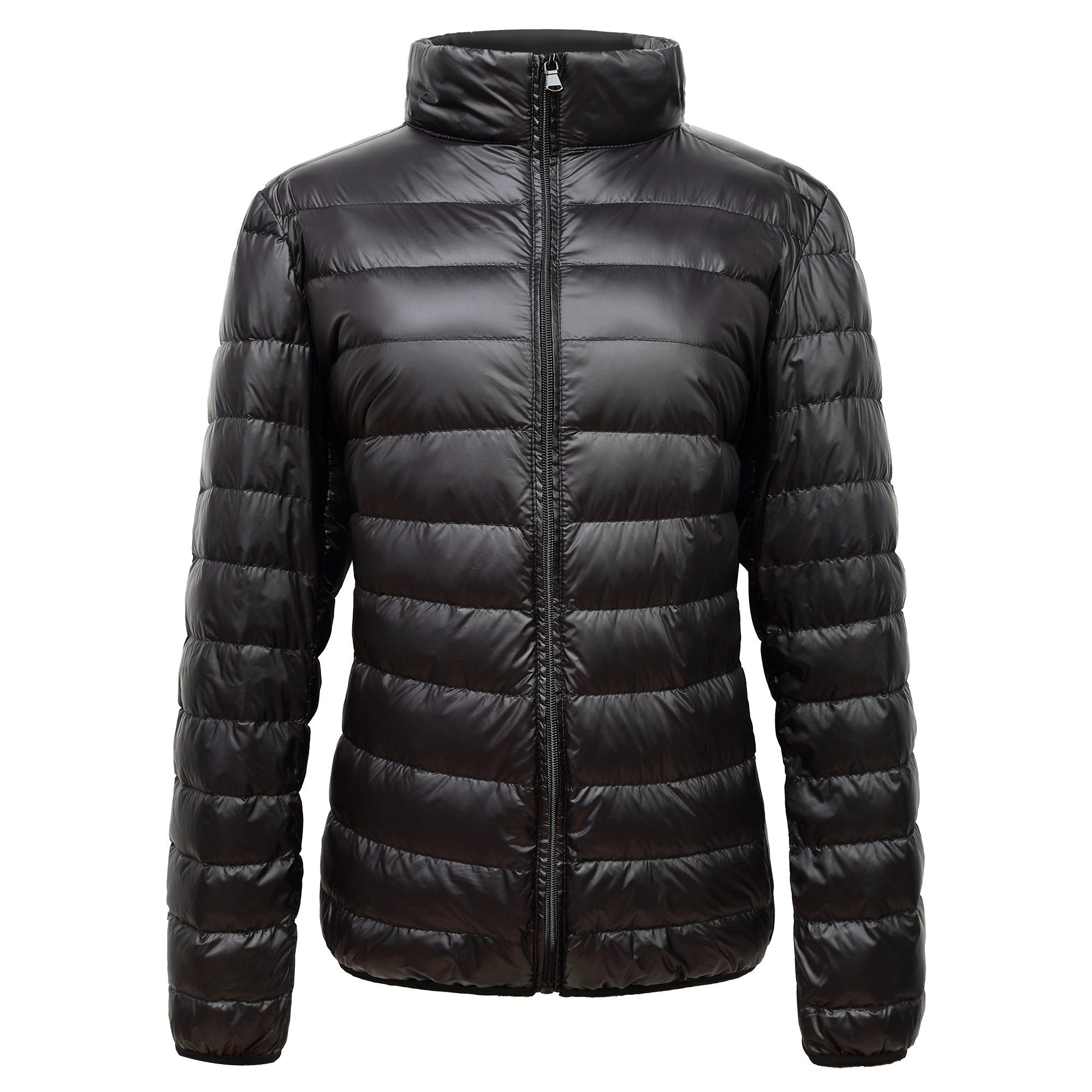TSC Wearable Men's Ultra Light Down Jacket, Fashion Light Weight Yet Warm Down Jacket, Water Resistant, Compact For Travel, All Season Wear (XL, Black)