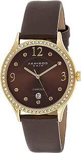 Akribos XXIV Women's Quartz Diamond & Swarovski Crystal Leather Strap Watch