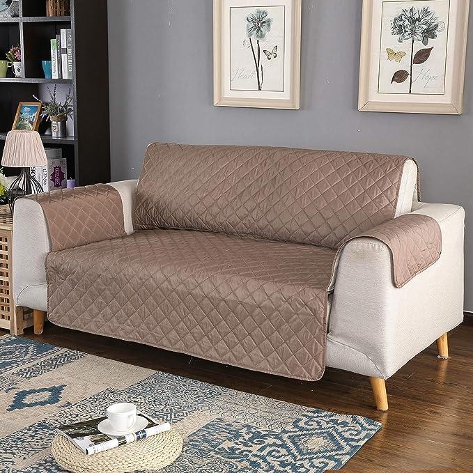 PETCUTE Funda de sofá 2 plazas Cubre Sofas Impermeable Protector de sofá Antideslizante Acolchado Sofas Fundas para Perros café