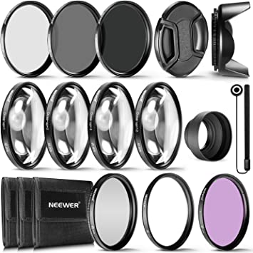 Cap CPL ND8 and 4 Macro Close-up Filters ND4 49mm Precision 10-PC Filter Kit Accessory Bundle ND2 FLD Cases and More Includes UV Lens Hood