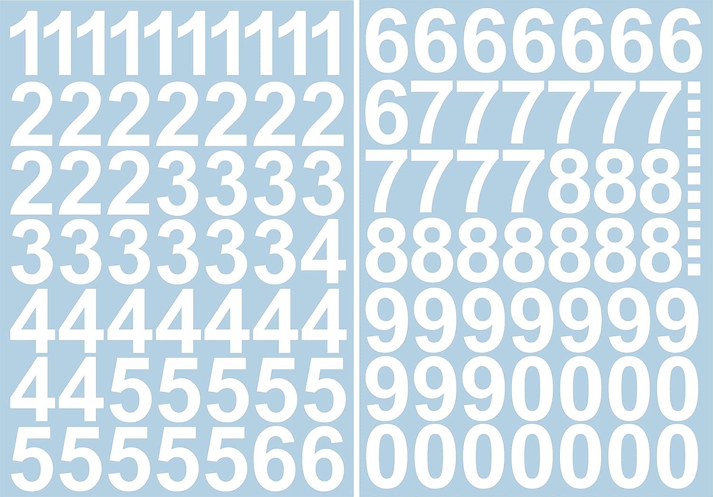 Numeri adesivi 5 cm di altezza numeri e numeri autoadesivi 0 96 numeri adesivi 9 Ideali per esterni perch/é impermeabili e resistenti alle intemperie. in bianco