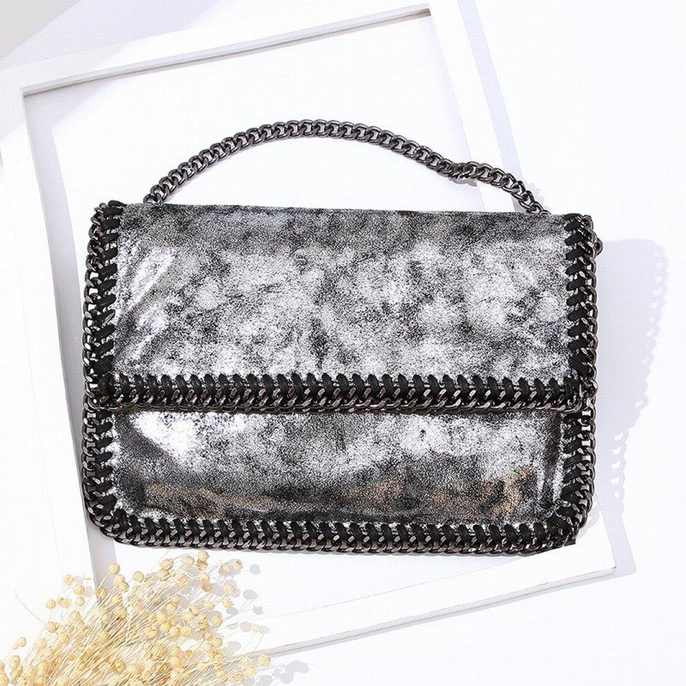 Weibliche Handtasche Schulter Diagonal Klappkette Tasche Handtasche , Schwarz und Silber