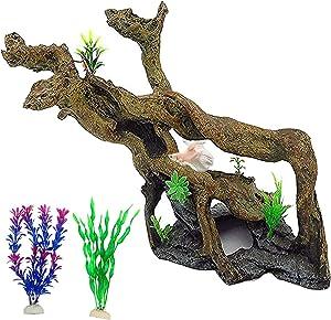 PINVNBY Resin Driftwood Aquarium Decoration Tree Branch Fish Tank Trunk OrnamentBetta LogReptile Climbwith Holes for FishShrimp Lizard Gecko