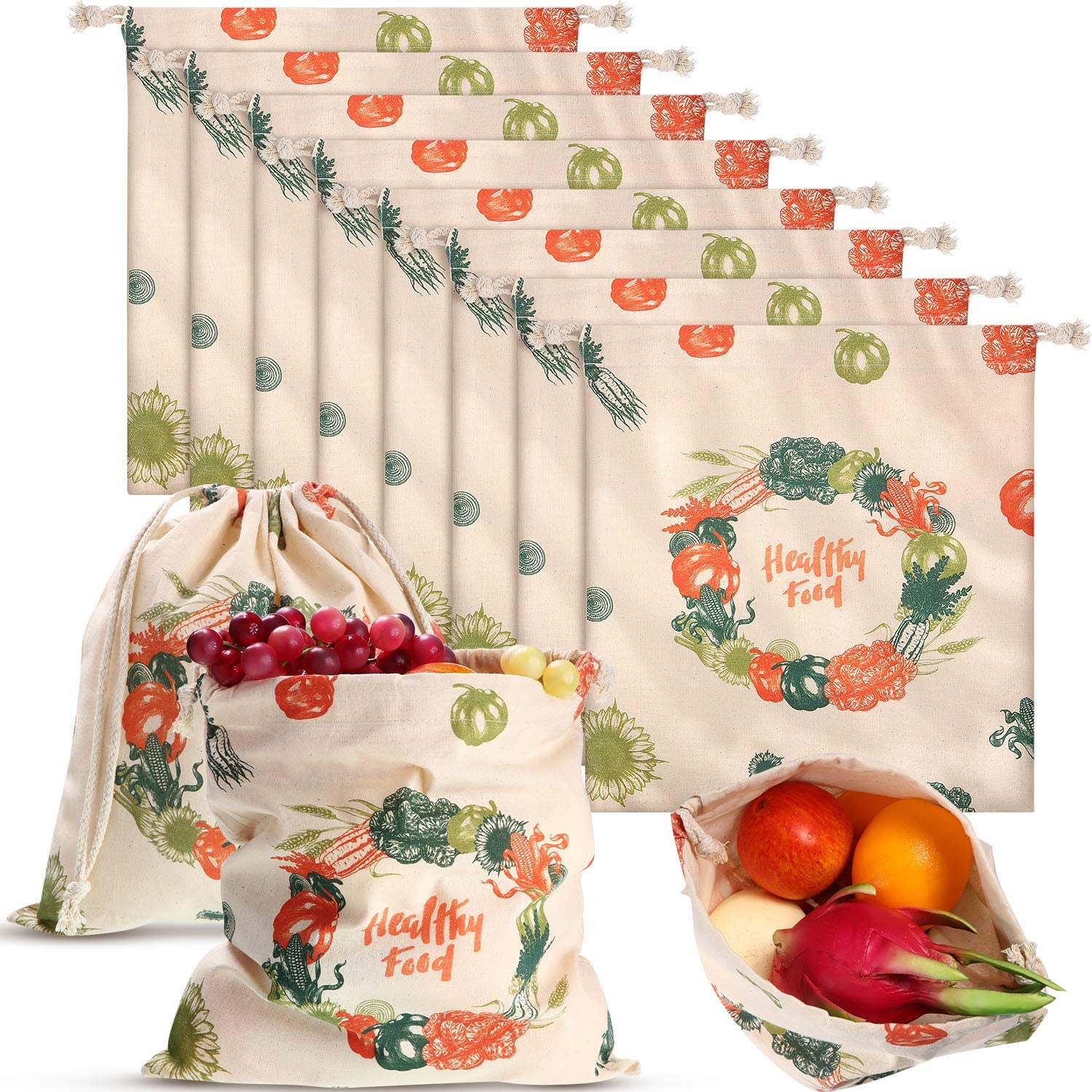10 Pieces 12 x 13.4 Inch Reusable Cotton Bread Bags Produce Bags Large Flour Sack Bags Washable Grocery Linen Drawstring Bags for Laundry Grocery Vegetable Food Storage Organizing
