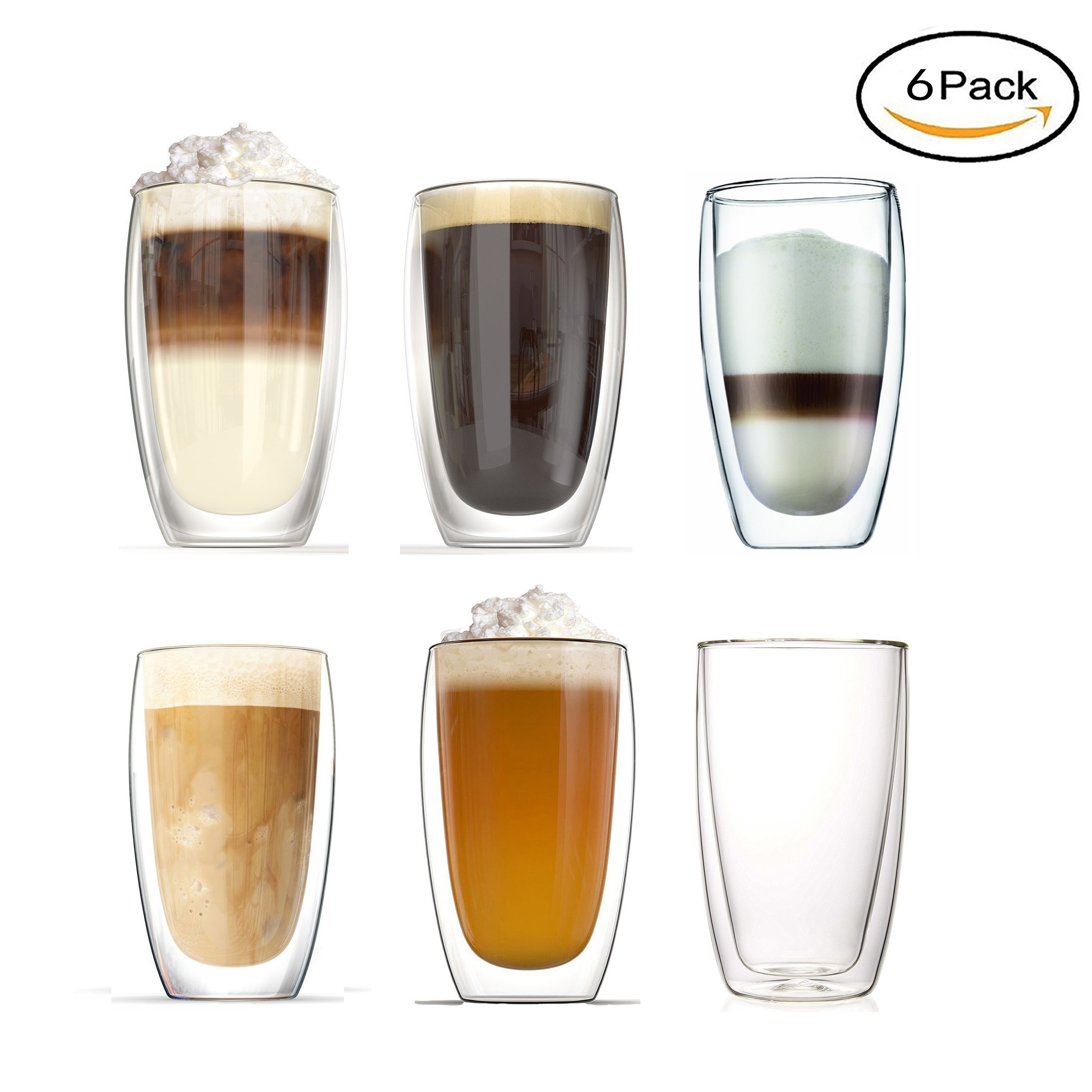 Heat resistant double-layer Thermo Glass Latte Cup / coffee cup / Tea Mug 450ml,8 oz,Set of 6
