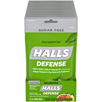 HALLS Defense Assorted Citrus Sugar Free Vitamin C Drops, 12 Packs of 25 Drops (300 Total Drops)