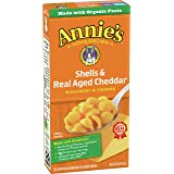 Annie's Macaroni and Cheese Shells & Aged Cheddar Mac and Cheese, 6 oz Box (Pack of 12)