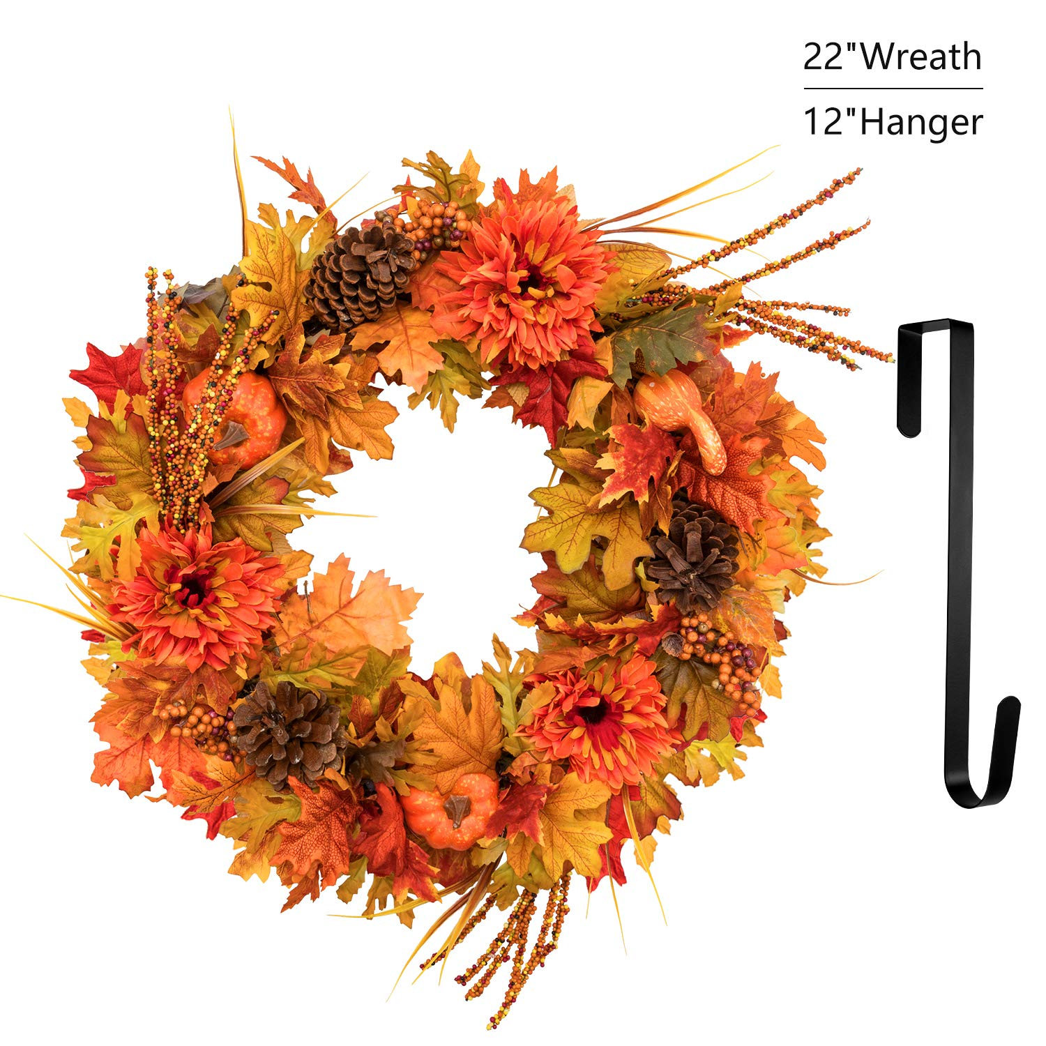 MoonLa 22 inch Fall Door Wreath with 12'' Wreath Hanger, Autumn Maple Leaf Pumpkin Harvest Wreath for Thanksgiving Day Halloween Decorations Front Door Home Decor by MoonLa