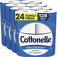 Cottonelle Ultra CleanCare Soft Toilet Paper with Active Cleaning Ripples, 24 Family Mega Rolls, Strong Bath Tissue (24…
