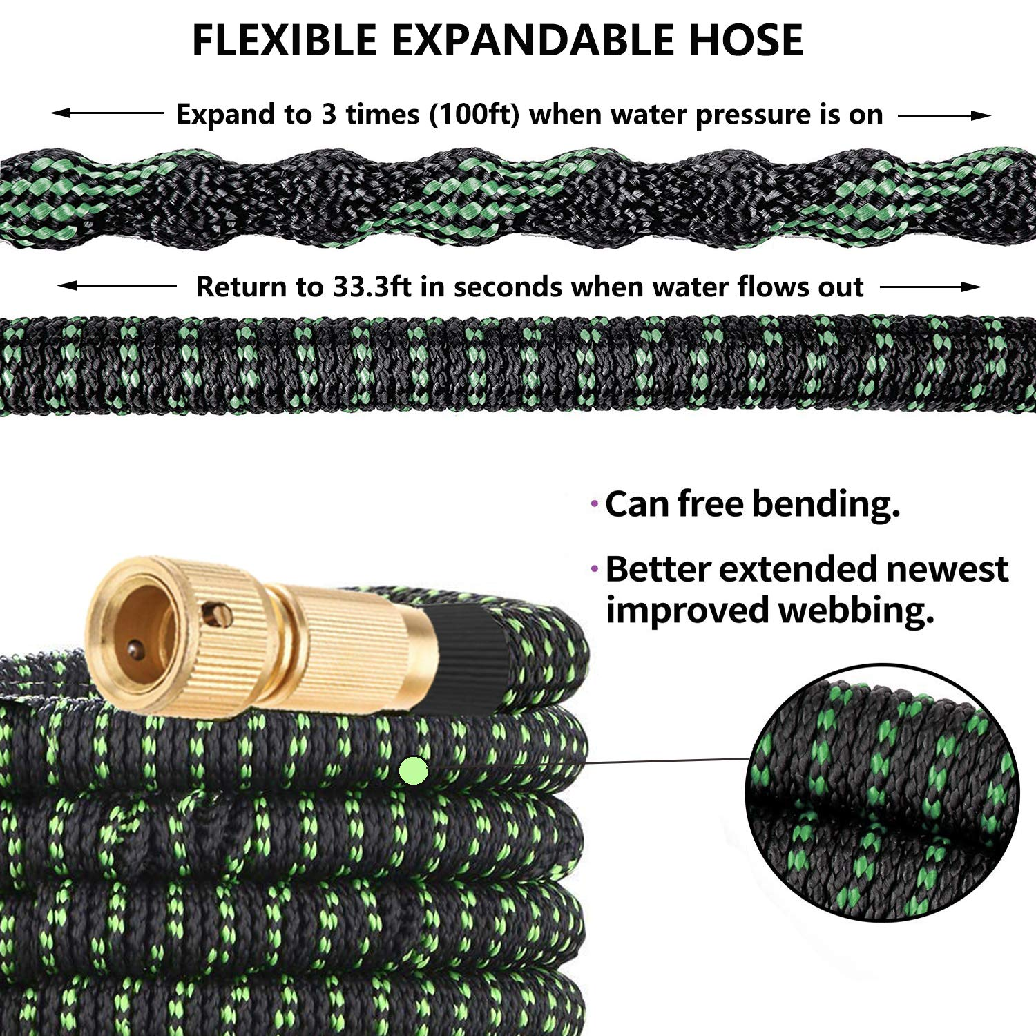 BKhome Expandable Garden Hose Pipe - 100ft Extra Strong Lightweight Yard Water Hose 9 Functions Spray Nozzle, and Hanger