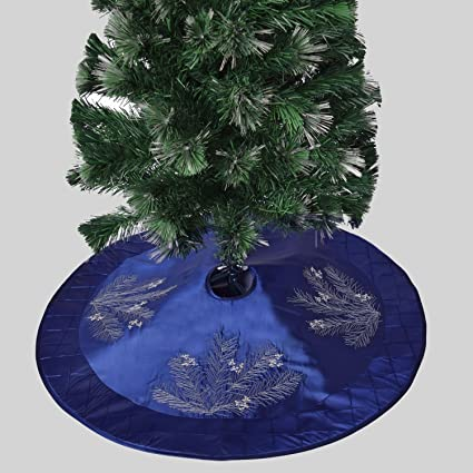 Gireshome 42quot Blue Faux Silk Deluxe Berry Embroidered With Handcraft Pintuck Border Christmas Tree Skirt