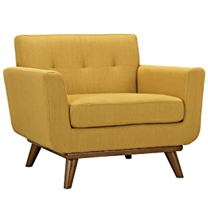 Modway Engage Mid-Century Modern Upholstered Fabric Accent Arm Lounge Chair in Citrus