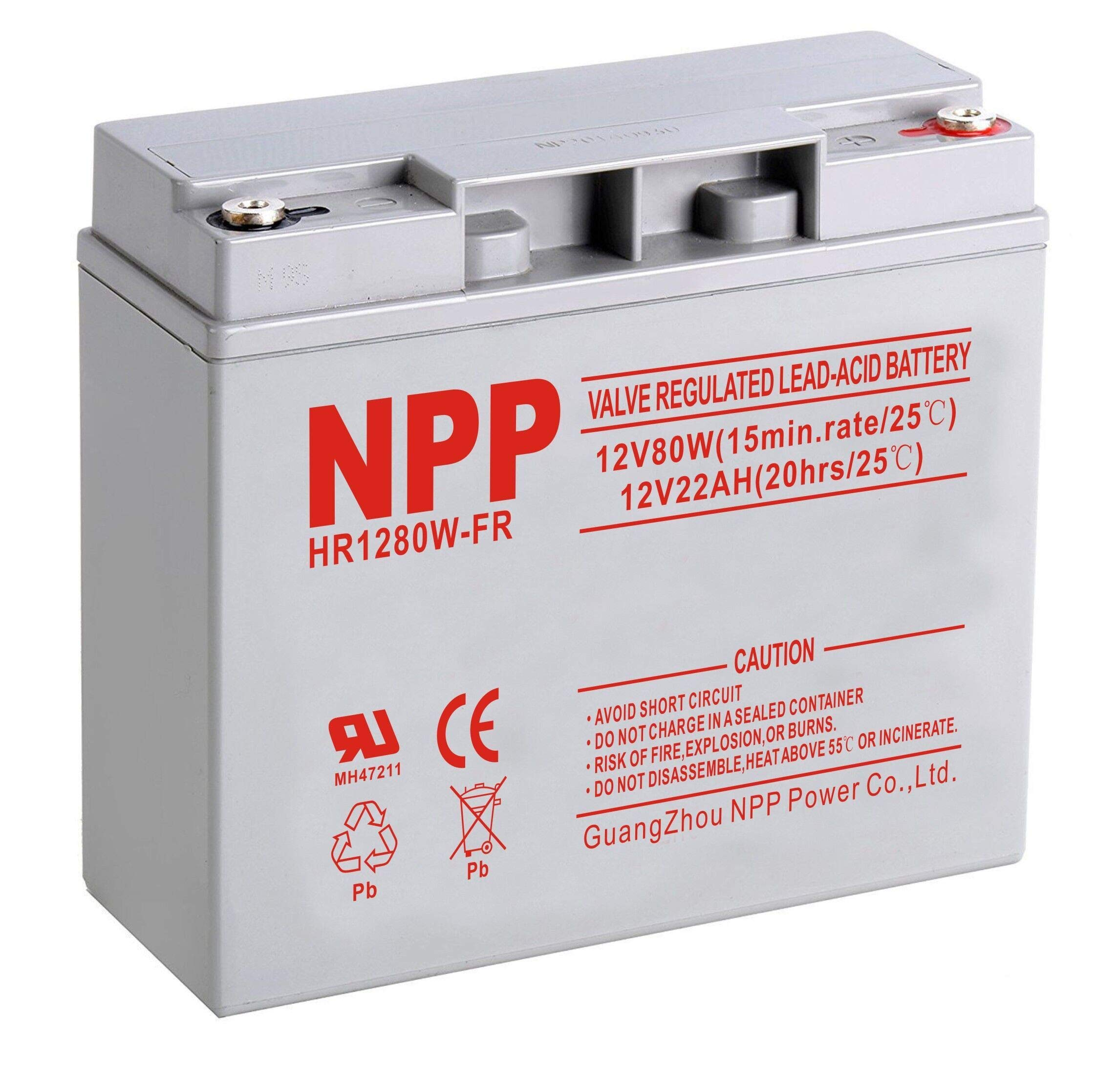 NPP NP12-22Ah with Button Style Terminal 12V 22Ah Rechargeable Sealed Lead Acid Battery by NPP