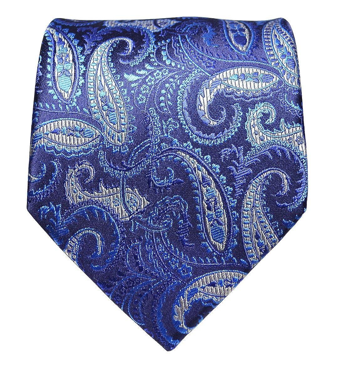 Pocket Square and Cufflinks Blue Paisleys Paul Malone Extra Long Silk Necktie